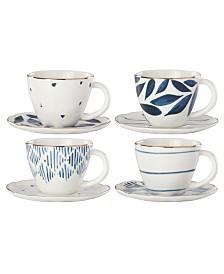 Lenox Blue Bay  Set/4  Assorted Espresso Cup and Saucer