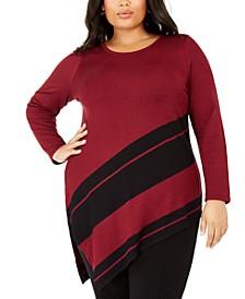 Plus Size Asymmetrical-Hem Striped Sweater, Created for Macy's