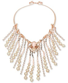 Gold-Tone Mixed Stone & Imitation Pearl Fringe Statement Collar Necklace