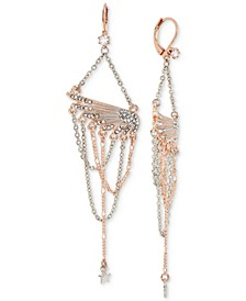 Two-Tone Pavé Wing & Looped Chain Chandelier Earrings