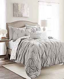 Ravello Pintuck Geo Reversible 7-Piece King Comforter Set