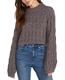 Knits Up Cable-Knit Cropped Sweater