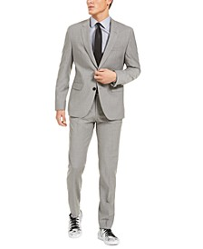 Men's Modern-Fit Stretch Light Gray Sharkskin Suit Separates