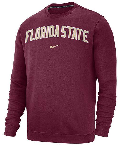 Nike Men's Florida State Seminoles Club Fleece Crewneck Sweatshirt