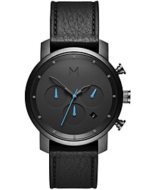 Men's Chronograph Chrono 40 Black Leather Strap Watch 40mm