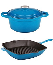 "Neo 3-Pc. Cast Iron Set: 3-Qt. Covered Dutch Oven and 11"" Grill Pan"
