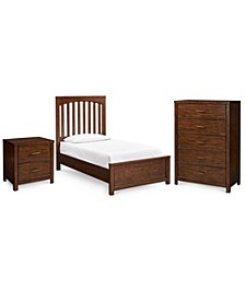 Ashford Bedroom 3-Pc. Set (Twin Bed, Nightstand & Chest)