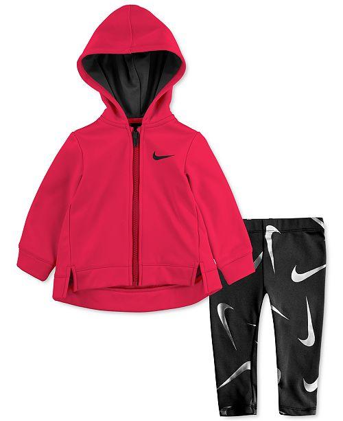 Nike Baby Girls 2-Pc. Therma Fleece Zip Hoodie & Dri-FIT Leggings Set