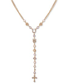 "Gold-Tone Crystal & Imitation Pearl Lariat Necklace, 24"" + 2"" extender"