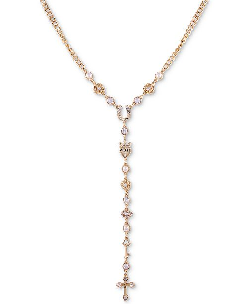 """GUESS Gold-Tone Crystal & Imitation Pearl Lariat Necklace, 24"""" + 2"""" extender"""