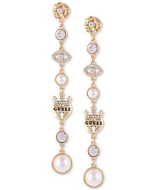 Gold-Tone Crystal & Imitation Pearl Linear Drop Earrings