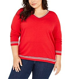 Plus Size Ivy Contrast-Trim Cotton Sweater
