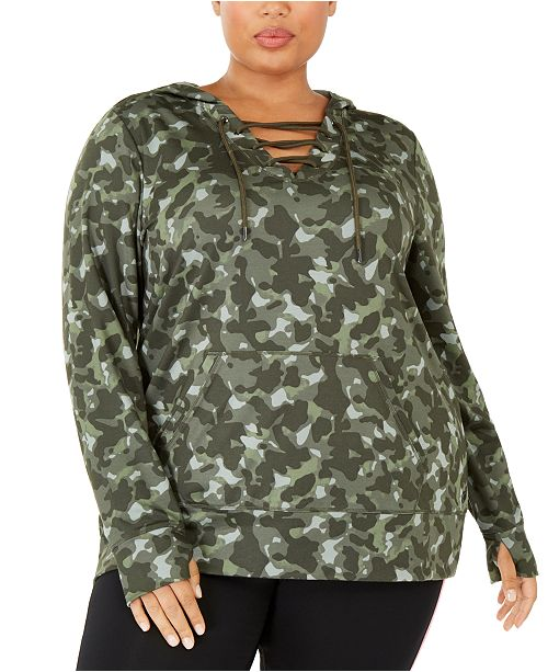 Plus Size Camouflage Warm-Up Hoodie, Created For Macy\'s