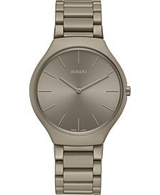 Unisex Swiss True Thinline Les Couleurs Le Corbusier Gray High-Tech Ceramic Bracelet Watch 39mm