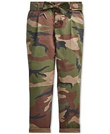 Big Girls Belted Cotton Paperbag Pants