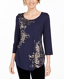 Metallic-Print Tunic Top, Created For Macy's