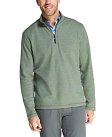 Men's Herringbone Jacquard Fleece Quarter-Zip Sweater
