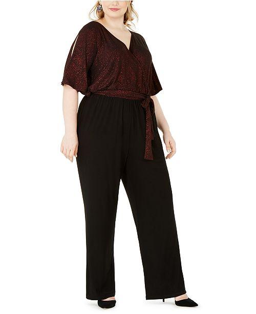 NY Collection Plus Size Sparkle Tie-Waist Jumpsuit