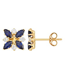Sapphire (1-1/3 ct. t.w.) and White Topaz (1/3 ct. t.w.) Flower Cluster Earrings in 10k Yellow Gold