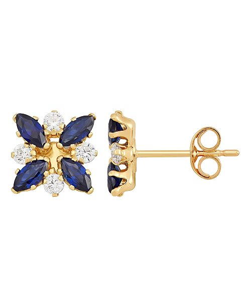 Macy's  Sapphire (8 ct. t.w.) and White Topaz (8 ct. t.w.) Flower Cluster Earrings in 10k Yellow Gold