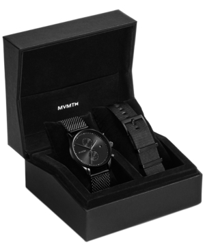 Mvmt Men's Voyager Slate Black-tone Stainless Steel Mesh Bracelet Watch Set 42mm