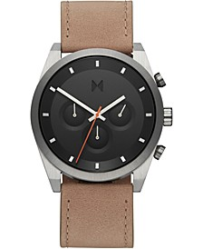 Men's Chronograph Element Graphite Sand Leather Strap Watch 44mm