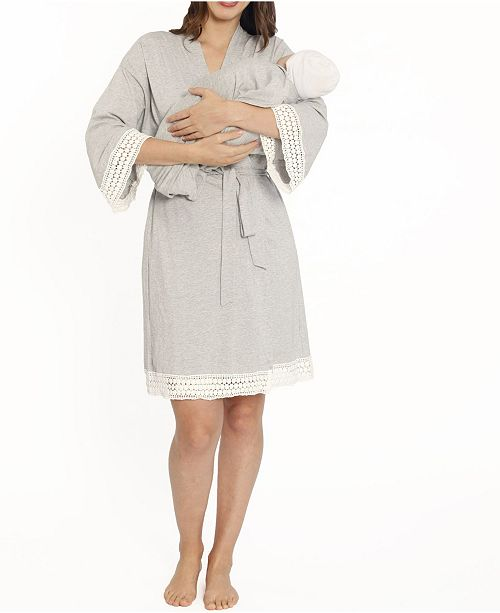 Blooming Women by Angel Blooming Women 3 Piece Robe, Nursing Dress and Baby Wrap Set