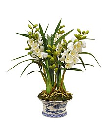Permanent Botanicals Orchid in Oval Planter