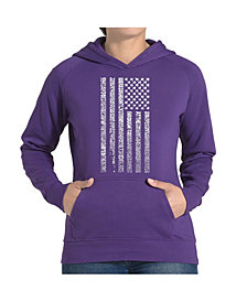 LA Pop Art Women's Word Art Hooded Sweatshirt -National Anthem Flag
