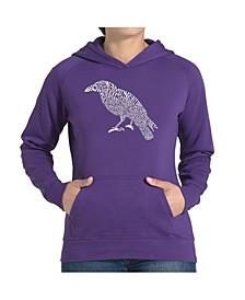 Women's Word Art Hooded Sweatshirt -Edgar Allen Poe's The Raven