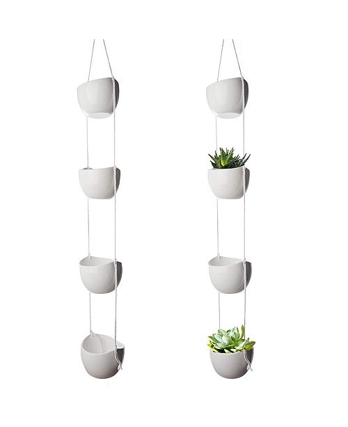 California Home Goods 4-Tier Ceramic Macrame Hanging Decorative Outdoor and Indoor Plant Holder for Wall and Ceiling