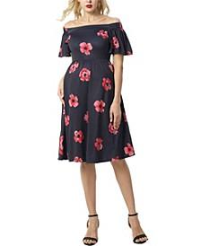 Pamela Maternity Convertible Shoulder Skater Dress