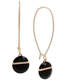 Gold-Tone Geometric Stone Linear Drop Earrings