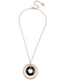 "Gold-Tone Orbital Pendant Necklace, 18"" + 2"" extender"