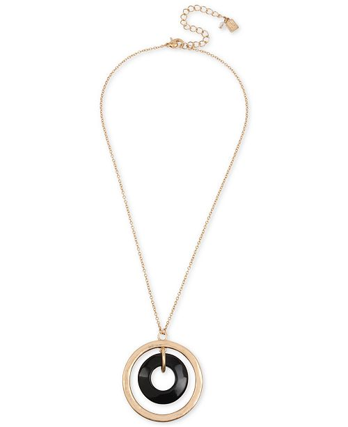 "Robert Lee Morris Soho Gold-Tone Orbital Pendant Necklace, 18"" + 2"" extender"
