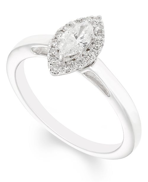 Macy's Certified Diamond (1/2 ct. t.w.) Engagement Ring in 14k White Gold