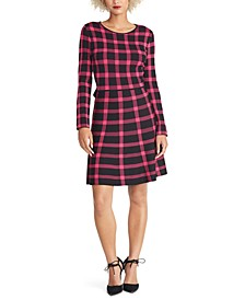 Plaid Open-Back Sweater Dress