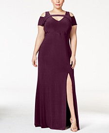 Plus Size Cold-Shoulder Keyhole Gown
