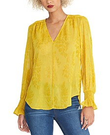 Lulu V-Neck Shirred-Cuff Top