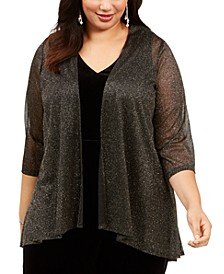 Plus Size Open-Front Glitter Shrug
