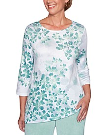 Petite Lake Geneva Leaves-Print Asymmetrical-Hem Top