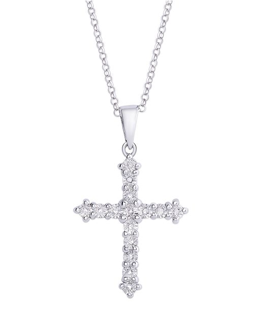 Macy's Diamond 1/10 ct. t.w. Cross Miracle Plate Pendant Necklace in Sterling Silver