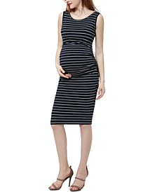 Delia Maternity Ruched Midi Dress