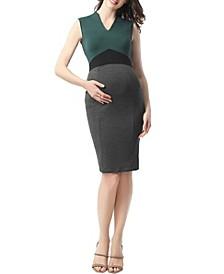 Jessie Maternity V-Neck Colorblock Midi Dress