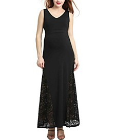 Elizabeth Maternity Lace Accent Maxi Dress