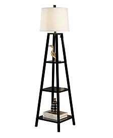 "Elliot Modern 63"" Finish 3-Tiered Wood Floor Lamp"