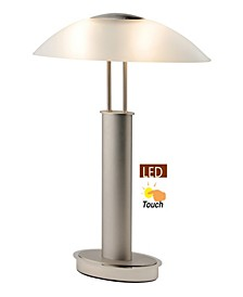 2 Tone Satin Nickel LED Touch Table Lamp with Oval Canoe and Frosted Glass Shade