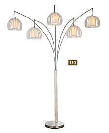 """Zucca 89"""" 5-Arch Brushed Steel LED Floor Lamp with Dimmer"""