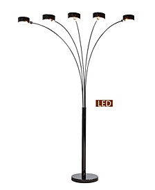 """Micah Plus Modern LED 88"""" 5-Arched Floor Lamp with Dimmer"""