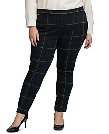 Plus Size Plaid Jacquard Pants
